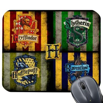 Harry Potter Inspired Design Mouse Pad Gryffindor Slytherin Hufflepuff Ravenclaw House Crest Gray