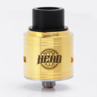 Head Style RDA Rebuildable Dripping Vape Atomizer - Golden, Stainless Steel, 24mm Diameter