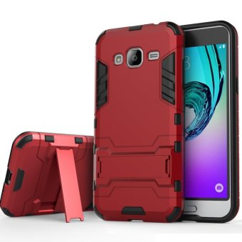 Heavy Duty Dual Layer Drop Protection Shockproof Armor Hybrid Steel Style Protective Cover Case with Self Stand for Samsung Galaxy A7 2015 - intl