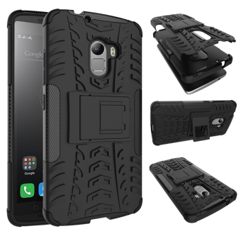 Heavy Duty Rugged Hybrid Dual Layer Kickstand Shockproof Protective Case Cover for Lenovo A7010/ Vibe X3 Lite Case/ K4 Note (Black) - intl
