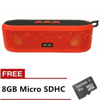 HF-X5 Wireless Bluetooth 4.0 Speaker (Red) with Free 8GB Micro SDHC