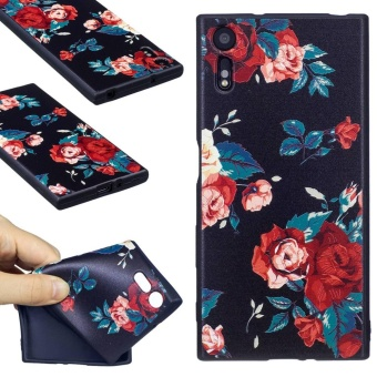 Hicase 3D Embossed Pattern TPU Silicone Gel Soft Case Cover for Sony Xperia XZ [safflower