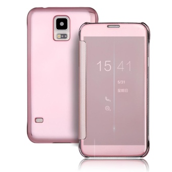 Hicase Mirror Smart Clear View Window Flip Case Cover For Samsung Galaxy S5 Rose Gold - intl