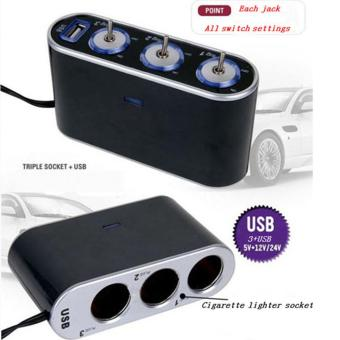 High Quality Car Cigar Lighter USB 3 Way Car Cigarette LighterSocket Splitter DC 12V + LED Light Switch - intl - 2