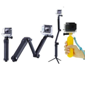 High Quality GoPro 3-Way Camera Mount Tripod Monopod For GoPro HERO1 2 3 3+ 4, SJ4000 + Xiaomi Yi Plus Floater Grip (Yellow)