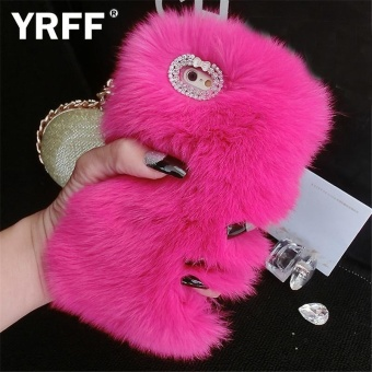 High Quality Plush Case For iphone 6s 6 Fur Rhinestone Bling PlushFurry Hard Cover For iPhone 6 6S phone Case - intl