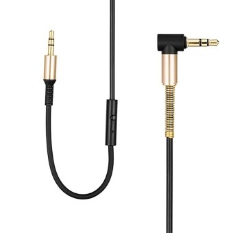 HOCO 2m In-line Control 3.5mm Male to Male Auxiliary Audio CableCoiled With Mic for AUX Devices(Black)