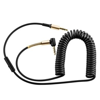 HOCO 2m In-line Control 3.5mm Male to Male Auxiliary Audio CableCoiled With Mic for AUX Devices(Black) - 2