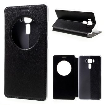 Hollow View Window Leather Case for Asus Zenfone 3 Laser ZC551KL - Black - intl