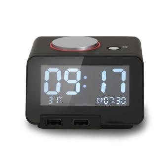 Homtime C1 Alarm Clock with USB Mobile Charger (Black)