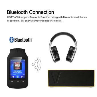 HOTT A505 8GB MP3 / MP4 Player Stereo Music Player Support Sport Pedometer Bluetooth Function FM Radio w/ TF Card Slot 1.8 Inches LCD Screen Clip Black - intl - 2