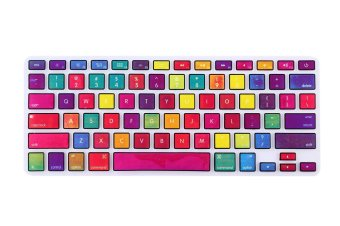 HRH Rainbow Series Silicone Waterproof Keyboard Protector CoverFilm For Apple Macbook Pro retina 13 15 17 Air 13 inch (Multicolor)