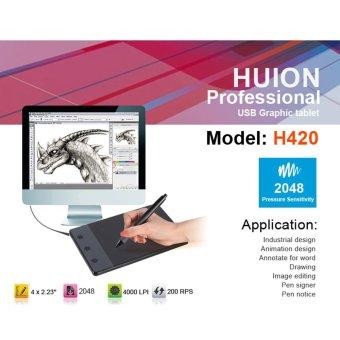 Huion H420 USB Drawing Writing Art Graphics Board Tablet 4x2.3inch Digital Pen - intl - 4