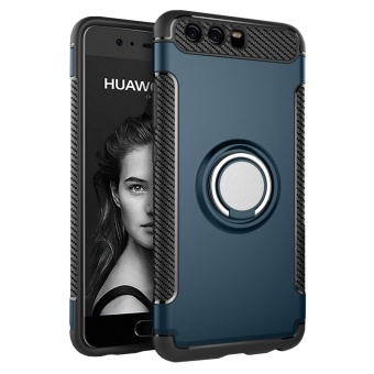 Hybrid Armor Case For Huawei P10 Anti-slip Carbon Fiber TPU + PCBack Cover with Ring Grip/Stand Holder Dark green - intl