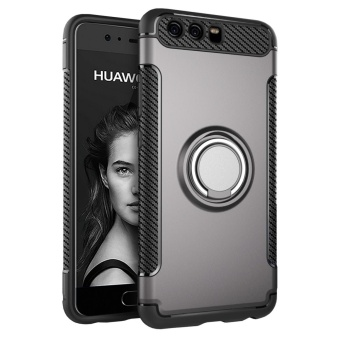 Hybrid Armor Case For Huawei P10 Anti-slip Carbon Fiber TPU + PCBack Cover with Ring Grip/Stand Holder Grey - intl