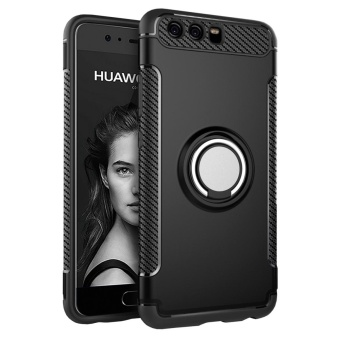 Hybrid Armor Case For Huawei P10 Plus Anti-slip Carbon Fiber TPU +PC Back Cover with Ring Grip/Stand Holder Black - intl