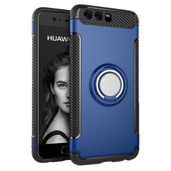 Hybrid Armor Case For Huawei P10 Plus Anti-slip Carbon Fiber TPU +PC Back Cover with Ring Grip/Stand Holder Blue - intl
