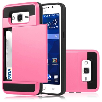 Hybrid Dual Layer Shockproof Bumper Wallet Case Cover with Card Holder for Samsung Galaxy J2 Prime - intl