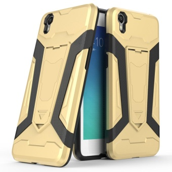 Hybrid TPU Bumper PC Back Case Cover for OPPO A37 (Golden) - intl
