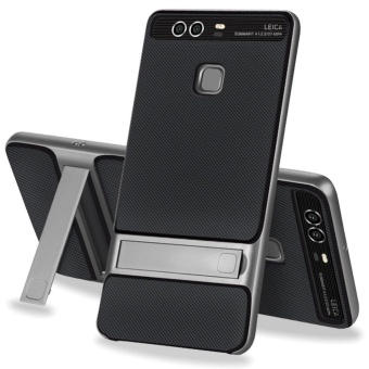 Hybrid TPU + PC Bumper Case for Huawei P9 Dual Layer Anti-ScratchKickstand Protective Cover Grey