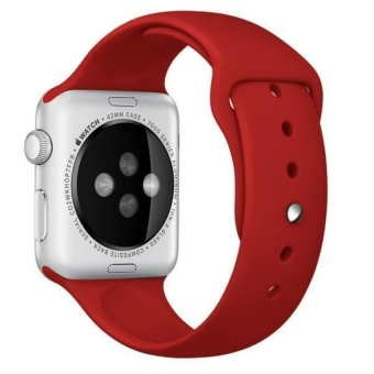 IBERL Sport Silicone Bracelet Strap Band For Apple Watch iwatch38mm(Red) - intl
