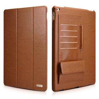 Icarer Business Multi-credit cards Tablet Leather Case GenuineLeather Case for Apple iPad Pro 12.9 inch Folio Flip Stand Coverwith Auto Sleep / Wake Up Smart Function (Brown) - intl