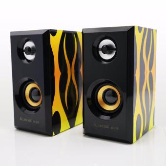 ILike IE-213 DC 5V computer PC Speaker 3.5mm Jack Audio Stereo USB Mini Subwoofer 3D Sound 2.0 CH PC Computer Speakers For Desktop Laptop ( 7 Colors : FIRE )