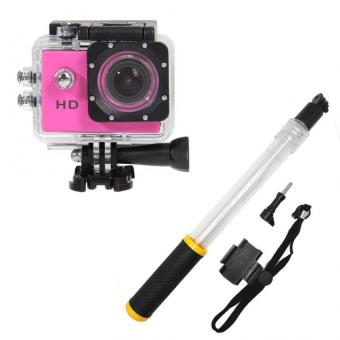 Harga HD DV 1080p 5MP Sports Camera (Pink) with Pro A1 Aquapod Floating Monopod and Pole for GoPro and Other Action Cameras (Clear/Black/Yellow)