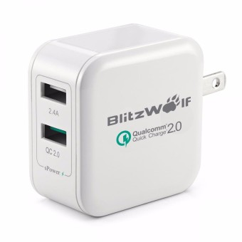 BlitzWolf QC2.0+24A 30W 2 USB Travel Wall Home Charger Adapter For Cellphone Price Philippines