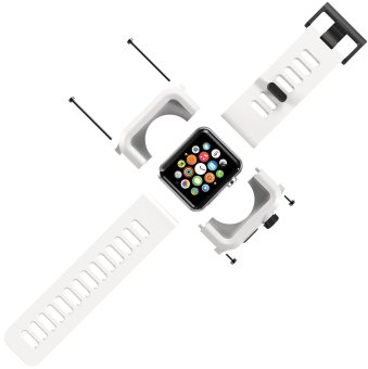 Harga LUNATIK EPIK Polycarbonate Case and Silicone Strap for Apple Watch 42mm, White/White