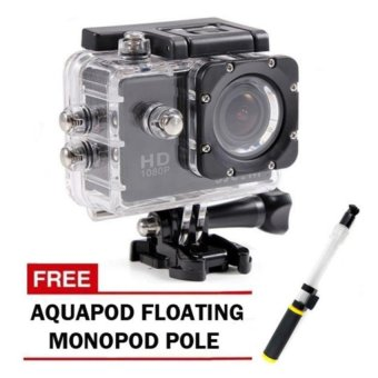 Harga SJCAM SJ4000 Latest Version 2.0' Display Screen 12MP Full HD Action/Sports Camera (Black) with Free Aquapod Floating Monopod Pole (Clear/Black)