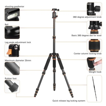 Harga Andoer Potable Foldable Extendable Carbon Fiber Travel Tripod Monopod Unipod with Ball Head & Quick Release Plate for Canon Nikon Sony DSLR Cameras Outdoor Photography Outdoorfree - intl