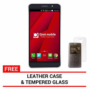Harga Qnet Mobile Hynex Plus 8GB (Black) with FREE Leather Case and Tempered Glass