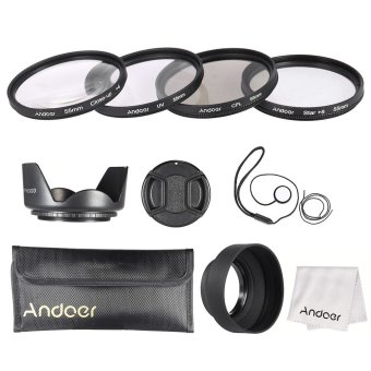 Harga Andoer 55mm Lens Filter Kit (UV + CPL + Star+8 + Close-up+4 ) with Lens Cap + Lens Cap Holder + Tulip & Rubber Lens Hoods + Cleaning Cloth Outdoorfree - INTL