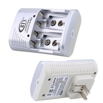 Harga BTY 4 Slot Quick Charger with LED Indicator for AA/AAA 14500 10440 6F22 9V Ni-MH/Ni-CD Rechargeable Battery