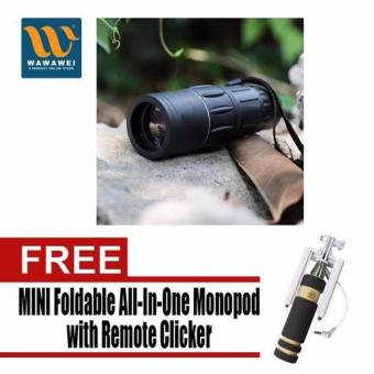 Harga Bushnell Monocular Muti-Coated Optics with Free Mini Foldable All-In-One Monopod with Remote Clicker (Black)