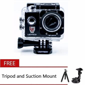 Lazytech 4K 30FPS 1080p 30/60FPS WiFi Action Pro 16MP Sports Camera (Black) with Free Tripod and Suction Mount Price Philippines