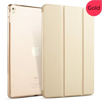 Transparent Back Ultra Slim Light Weight Auto Wake Up/Sleep Smart Cover Tri-fold Protective PU Leather Case for iPad Pro 12.9 Inch-Gold Price Philippines
