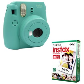 Harga Fujifilm Instax Mini 8 Instant Camera (Mint) + Fuji White Edge Instant 10 Film
