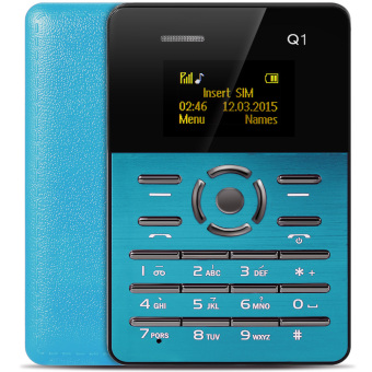 AIEK Q1 1.0 inch Ultra-thin Card Phone Audio Player Sound Recorder (Blue) - intl Price Philippines