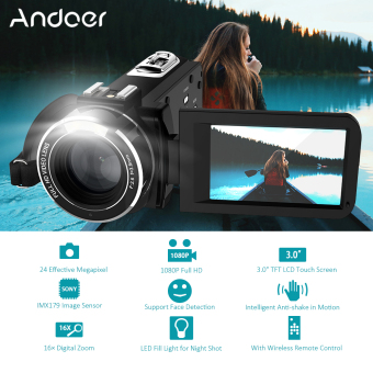 "Andoer HDV-Z20 Portable 1080P Full HD Digital Video Camera Max 24 Mega Pixels 16? Digital Zoom Camcorder 3.0"" Rotatable LCD Touchscreen with Remote Control Support WiFi Connection Unique Hot Shoe Design - intl Price Philippines"