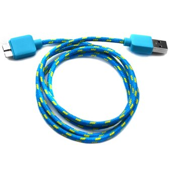 Harga Woven Fabric Data Cable for Samsung Galaxy Note 3 (Blue)