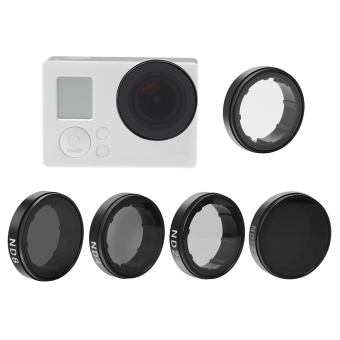 Harga Andoer Round Lens Filters Kit Set(ND2/ND4/ND8/ND16/UV) Protector Protective Glass for GoPro Hero4/3+/3 Outdoorfree