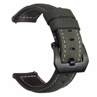 Samsung Gear S3 S2 Premium Leather Watchband Bracelet Strap for Samsung Gear S3 S2 (Army Green) Price Philippines