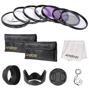 Harga Andoer 77mm UV/CPL/FLD/Close-up(+1+2+4+10) Lens Filter Kit with Carry Pouch/Lens Cap/Lens Cap Holder/Tulip & Rubber Lens Hoods/Lens Cleaning Cloth