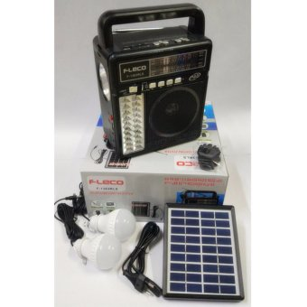 A-one F-leco F-1363Rls Solar Rechargable Flash Light Radio with FM/AM/SW1-2 4 Band Radio Receiver and USB/SD/TF(Mp3) Card Round plug Music Play (Black/Red/Brown) Price Philippines