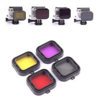 Harga 4 in 1 Filter set for GoPro 3+/4 Polar Pro Aqua Cube underwater Diving Filter Color-Correction Filter