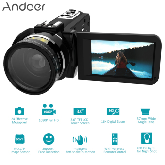 "Andoer HDV-Z20 Portable 1080P Full HD Digital Video Camera with 37mm 0.45? Wide Angle Lens Max 24 Mega Pixels 16? Digital Zoom Camcorder 3.0"" Rotatable LCD Touchscreen with Remote Control Support WiFi Connection Unique Hot Shoe Design - intl Price Philippines"