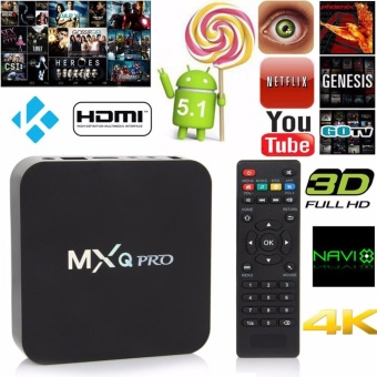 MXQ Pro 4-K Ultra HD TVBox Wireless Wifi Quad Core Android Lolipop 5.1 Smart Streaming Media Player (Black) Price Philippines