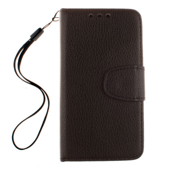 Harga Leather Litchi Skin Wallet Cover for Samsung Galaxy S Duos S7562 GT-S7562 7562 Trend Plus S7580 S7582 (Black)